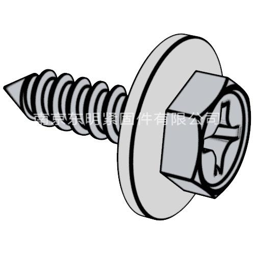 GB/T 9074.21 - 1988 十字槽凹穴六角頭自攻螺釘和大平墊組合