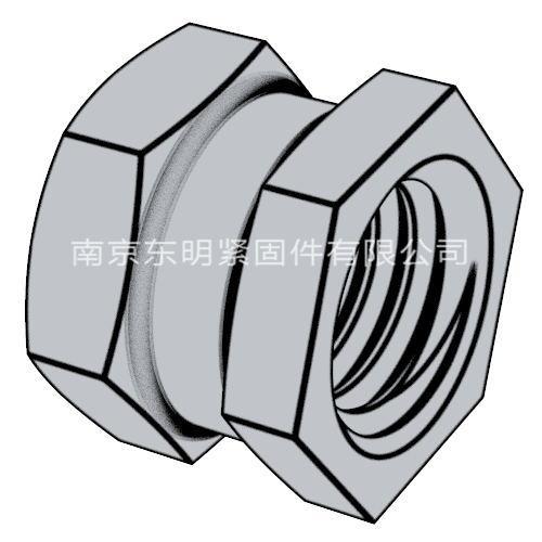 DIN 16903(E) - 1974 六角通孔中間帶槽鑲入螺母 帶塑料密封墊 E型