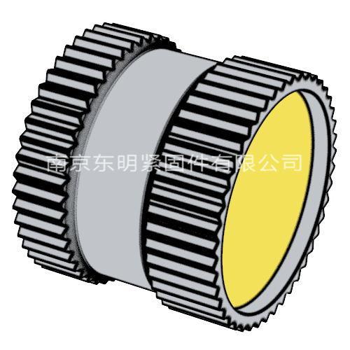 DIN 16903(F) - 1974 滚花通孔中间带槽镶入螺母 带密封垫 - F型